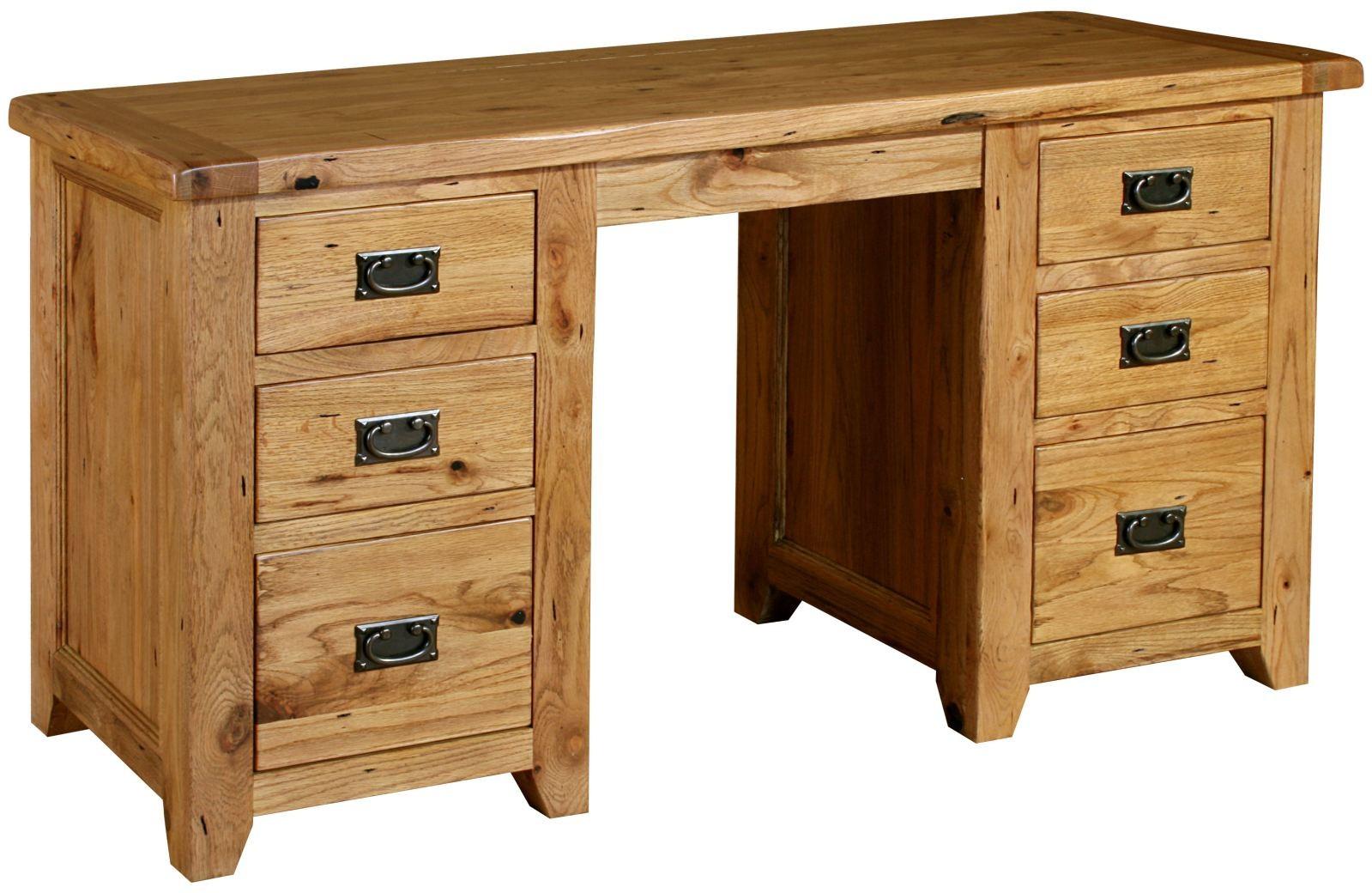 Bordeaux Rustic Oak Double Dressing Table Birch Commercial - Rustic oak dressing table